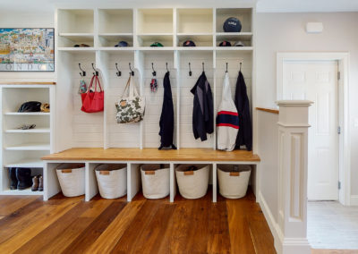 Mudroom with Benches in Maine Home Remodel
